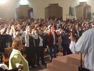 Charismatic Movement - Praise and Worship during a Catholic Charismatic Renewal Healing Service.