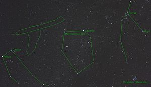 Telescopium Herschelii - Photograph of Telescopium Herschelii with constellations Gemini, Auriga, Perseus and the Pleiades
