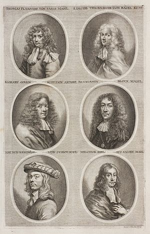 Richard Collin - Richard Collin middle left in Sandrart's Teutsche Academie
