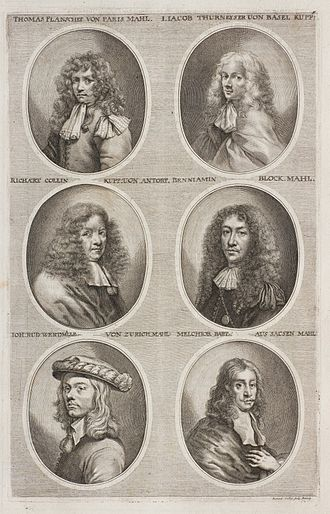 Richard Collin - Richard Collin middle left in Sandrart's Teutsche Academie