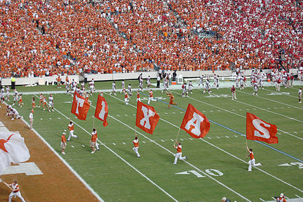 Texas Longhorns football playing against Oklahoma in the 2007 Red River Rivalry Texas entry 2007 Red River Shootout.jpg