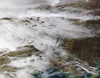 Fallstreak hole - Satellite image of canals and fallstreak holes over east Texas in January 2007