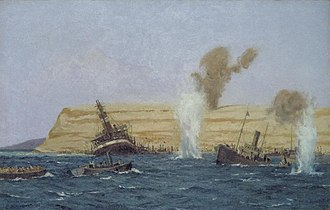 SS River Clyde - Image: The Base Camp, Cape Helles, Under Shell Fire, August 1915 the 'ss River Clyde' is seen aground. Art.IWMART2450
