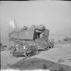 46th Infantry Division (United Kingdom) - Universal carriers of the 6th Battalion, Lincolnshire Regiment drive ashore from a Landing Ship, Tank (LST) at Salerno, 8 September 1943.