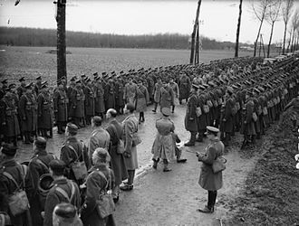 1st Armoured Infantry Brigade (United Kingdom) - HM The King reviews the 2nd Battalion, Coldstream Guards at Bachy, France, December 1939.