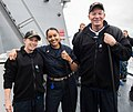 The CO, XO, and CMDCM of USS Wayne E. Meyer, 2016.jpg