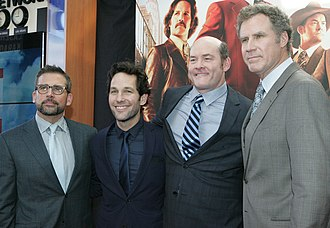 Anchorman 2: The Legend Continues - Carell (left), Rudd, Koechner, and Ferrell (right) at the film's Australian premiere in November 2013