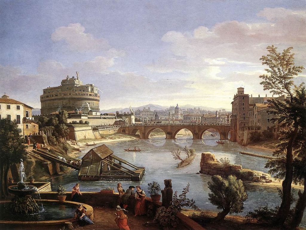 Una veduta della zona di Castel Sant'Angelo in un dipinto di fine XVII secolo dans Roma 1024px-The_Castel_Sant%27Angelo_from_the_South