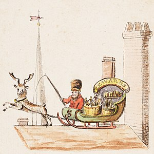 Santa Claus's reindeer - Illustration to verse 1 of Old Santeclaus with Much Delight, 1821