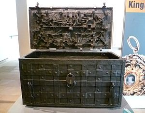 Darien scheme - The Darien chest, which held the money and documents of the Company of Scotland. Now in the National Museum of Scotland in Edinburgh.