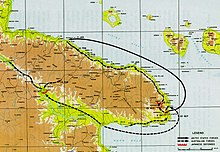 map indicating the Allied advance along the coast of New Guinea