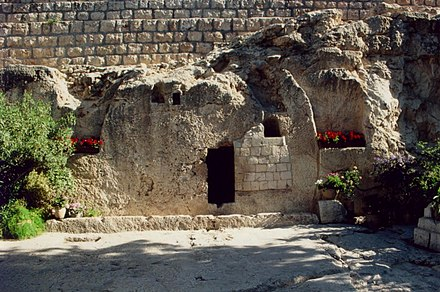 The Garden Tomb in Jerusalem - a new holy site established by British Protestants in the 19th century. The Garden Tomb 2008.jpg