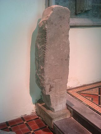 Photograph of the Gowran Ogham Stone was taken in St. Mary's Collegiate Church in Gowran