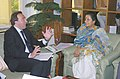 The Italian Minister of State for Foreign Affairs, Mr. Sen Gianni Vernetti in conversation with the Union Minister for Tourism and Culture, Smt. Ambika Soni, in New Delhi on July 6, 2006.jpg