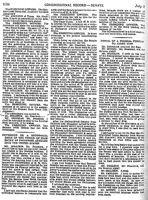 Page from the Congressional Record containing a transcript of the passage of the amendment The Johnson Amendment.jpg