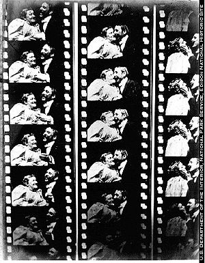 1896 in film - The first kiss ever on film is in 1896 involving the great Canadian star May Irwin and John C. Rice.