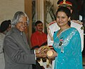 The President, Dr. A.P.J. Abdul Kalam presenting Padma Shri to Kumari Koneru Humpy (Chess), at an Investiture Ceremony at Rashtrapati Bhavan in New Delhi on March 23, 2007.jpg