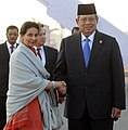 The President of Indonesia, Mr. Susilo Bambang Yudhoyono being received by the Minister of State for External Affairs, Smt. Preneet Kaur, on his arrival at the Air Force Station Palam, in New Delhi on December 19, 2012.jpg