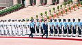 The President of the Republic of South Korea, Mr. Moon Jae-in inspecting the Guard of Honour, at the Ceremonial Reception, at Rashtrapati Bhavan, in New Delhi on July 10, 2018.JPG