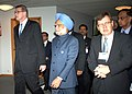 The Prime Minister, Dr. Manmohan Singh and the Prime Minister of Finland, Mr. Vanhanen arriving at the closing session of India-EU Business Summit in Helsinki, Finland on October 12, 2006.jpg