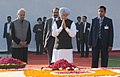 The Prime Minister, Dr. Manmohan Singh paying homage at the Samadhi of former Prime Minister, Shri Inder Kumar Gujral, on his death anniversary, in Delhi on November 30, 2013.jpg