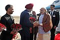 The Prime Minister, Shri Narendra Modi being received on his arrival, in Chandigarh on January 24, 2016. The Chief Minister of Haryana, Shri Manohar Lal Khattar is also seen.jpg
