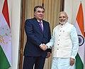 The Prime Minister, Shri Narendra Modi with the President of the Republic of Tajikistan, Mr. Emomali Rahmon, at Hyderabad House, in New Delhi on December 17, 2016 (1).jpg