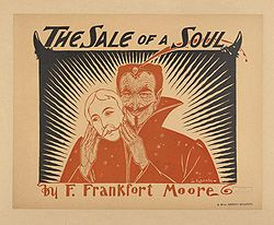 "An image of a man with a wrinkled, smiling face taking off a mask of a plain face. The accompanying text reads ""The Sale of a Soul by F. Frankfort Moore""."