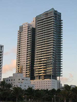 The Setai Miami Beach - The south side of The Setai viewed from the beach