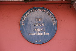 The swan blue plaque