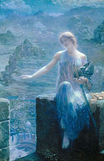 The Valkyrie's Vigil, by the Pre-Raphaelite painter Edward Robert Hughes. Hughes down-plays the warrior aspect of the valkyrie, depicting instead a beautiful young woman in an ethereal dress. Her armor and weapons are present, but set aside and unused.