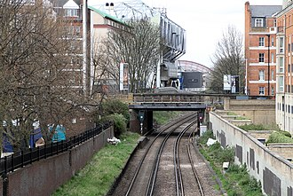 Chelsea & Fulham railway station - The West London Line passing through Fulham at the site of the former station