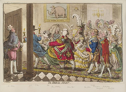 The Bridal Night by James Gilray, satirising Frederick's marriage to Charlotte The bridal night by James Gillray.jpg