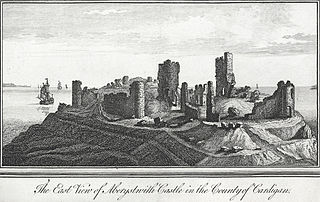 The east view of Aberystwith Castle in the county of Cardigan