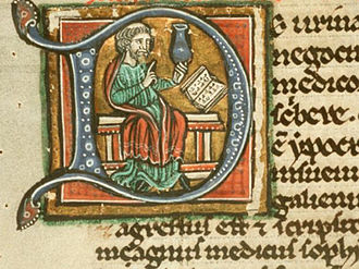 Theophilus Protospatharius - Theophilus Protospatharius, holding a blue-gray uroscopy flask, depicted in a 13th-century manuscript