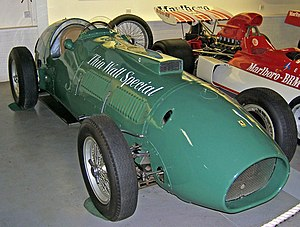 Reg Parnell - Tony Vandervell's modified Ferrari 375, used by Parnell between 1952 and 1954, in the Donington Collection museum, Leicestershire, England.