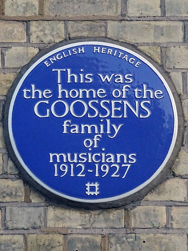Eugène Goossens, Annie Cook, Eugene Aynsley Goossens, Marie Goossens, and 3 other - This was   the home of the  Goossens  family  of  musicians  1912-1927