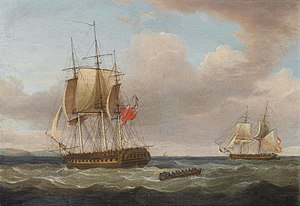 Thomas Whitcombe - H.M.S. 'Pique', 40 guns, Captain C.H.B. Ross capturing the Spanish Brig 'Orquijo', 18 guns, 8th. February 1805.jpg