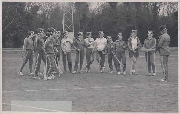 TCPE students playing camogie, c. 1976 Thomond College of Physical Education students - Camogie (9524285054).jpg