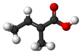 Ball-and-stick model of tiglic acid