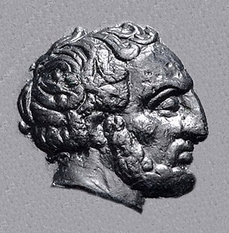 "Tissaphernes - Portrait of Tissaphernes (445 BC–395 BC), from his coinage. Most of his coins are inscribed ΤΙΣΣΑ (""TISSA"") in Greek under his portrait, permitting identification."