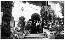 A gathering of friends and family in the manor of Păulești in 1937.