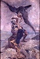 Toulouse-Lautrec - ESQUISSE ALLEGORIQUE, GUERRIER COMBATTANT UN VAUTOUR, 1883, MTL.103.jpg