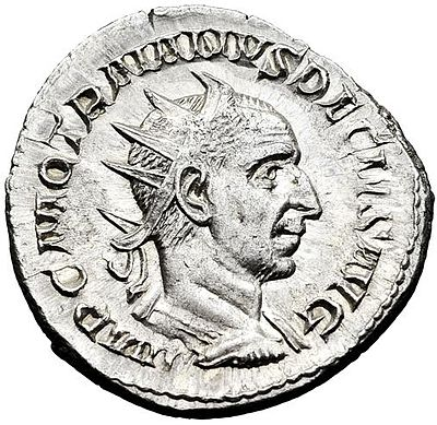 Antoninianus of Trajan Decius. Inscription: IMP. C. M. Q. TRAIANVS DECIVS AVG. Trajan Decius Ant.jpg