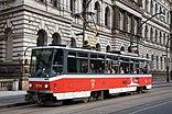 Tram running on the street in Prague