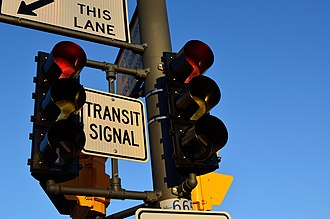 Bus priority - A transit signal traffic light in a bus priority system.
