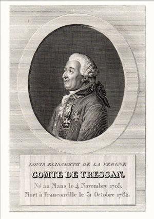 Louis-Élisabeth de La Vergne de Tressan - Porträt of Tressan. Engraving from Alexandre Desenne, 1824
