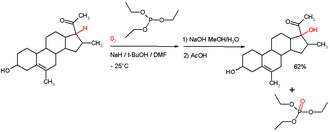 Phosphite ester - Autoxidation of a keto steroid with oxygen to the hydroperoxide (not depicted) followed by reduction with triethylphosphite to the alcohol