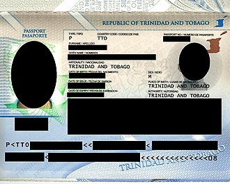 Trinidad and Tobago passport - Identification page of passport (2011)