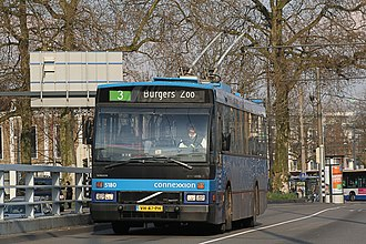 Destination sign - A rollsign-equipped trolleybus in Arnhem, Netherlands